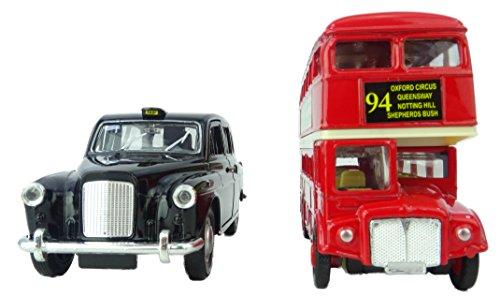 Peterkin 8412 12,7 cm Londen bus en Taxi set voertuig, rood, zwart