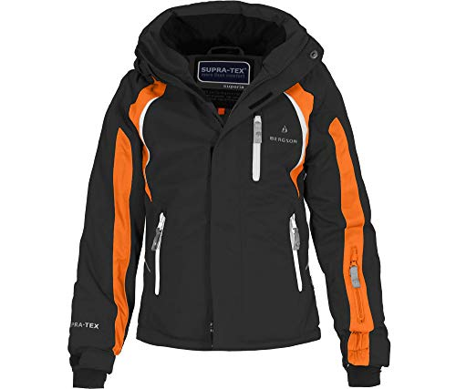 Bergson Kinder Skijacke Jens, Black/Persimmon orange [9403], 164 - Kinder
