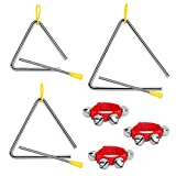 OPPRES Triángulo de 3 piezas para niños Instrumento de percusión con badajo de ritmo con campana de muñeca roja percusión musical Educación temprana con mazo de goma