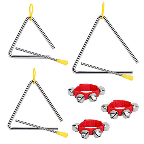 OPPRES 3 Pcs Instruments Triangles en Métal Triangle Musical de Percussion T4 T5 T6 Triangle avec Batteur pour Enfant Ecole Classe avec 3 Bracelets rouges avec Brelots