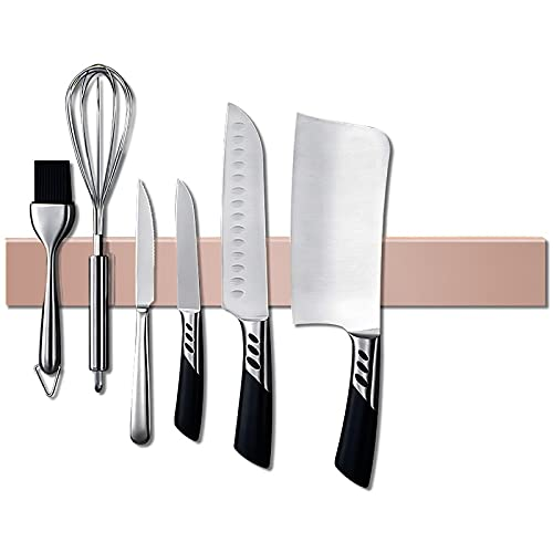 Magnetic Knife Strips,16 Inch Stainless Steel Magnetic Knife Holder,Knife Bar,Knife Rack,Kitchen Utensil Holder,Tool Holder Organizer,Metal Tools Organizer(Rose Gold)