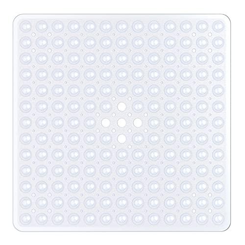 XIYUNTE Quadrat Duschmatten rutschfest Anti Schimmel Badematten Waschmaschinenfest Badezimmer-Matte mit Saugnapf, Antibakteriell Gummi Kinder-Duschmatte mit Ablauflöchern, 53 × 53 cm,Weiß