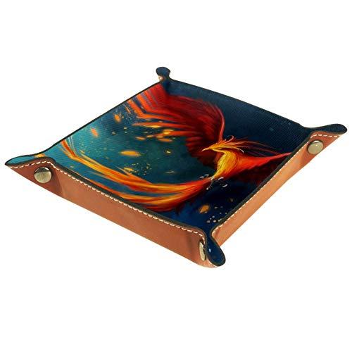 XiangHeFu Arte Ave Fénix Fuego Cielo Monedero con Cambio de Llave Caja de Almacenamiento de Cuero Catchall Organizador de Escritorio pequeño Bandeja de Valet