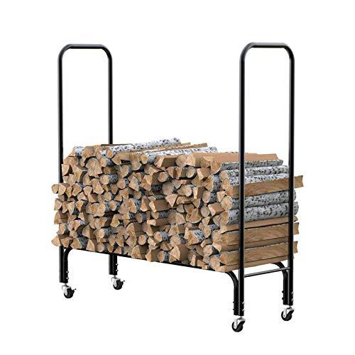 Brennholzständer im Freien, Beweglicher Brennholzständer für Innenkamin, Hochleistungs-Stapelregale aus Brennholz für den Innen- und Außenbereich, Aufbewahrungsboxen aus Metall für Kamine