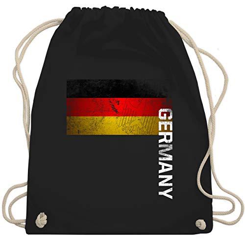 Shirtracer Fußball-Europameisterschaft 2021 - Deutschland Flagge Adler Vintage Germany - Unisize - Schwarz - deutschland turnbeutel - WM110 - Turnbeutel und Stoffbeutel aus Baumwolle