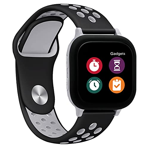 MOONSTAN Compatible with Gizmo Watch 2 Band Replacement for Kids Boys Girls, 20mm Small Size Silicone Sport Accessories for Verizon Gizmo Gadget Watch 1, Black Grey
