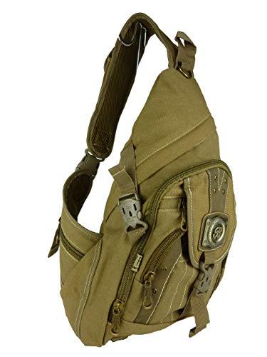 BABYFISH Denim Rucksack, 1 Träger, crossbag, ca. 22 Liter, 45 x 30 x 18 cm (braun Camel)