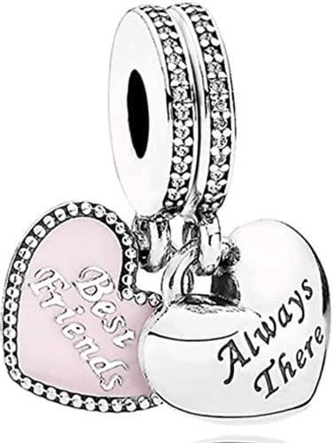LaMenars Love Charm para pulseras Pandora 925 Silver colgante abalorios para mujeres collares regalo para el cumpleaños del día de la madre (B-Mejores amigos)