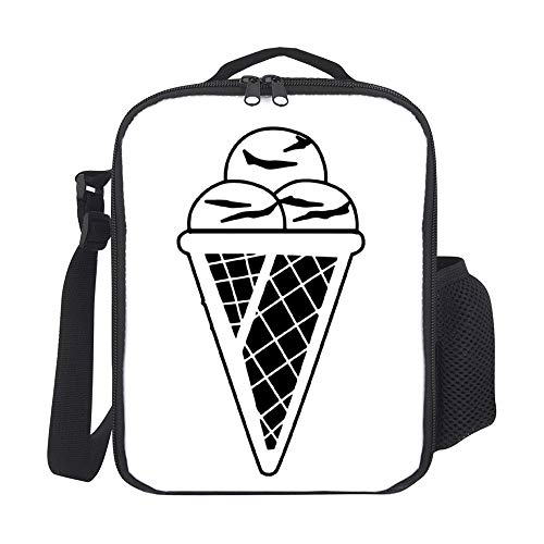 Bolsas de almuerzo aisladas para niños, con soporte para botellas, conos de helado, color negro 04, ideal para hombres, adultos, reutilizable, bolsa de comida para trabajo, escuela, picnic