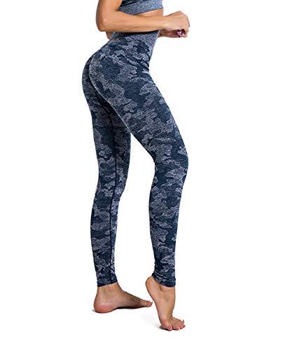 Yaavii Damen Sport Leggings Lange Blickdicht Yogahose Sporthose Streetwear Sporttight mit Hohe Taille Bauchkontrolle Camo Blau M