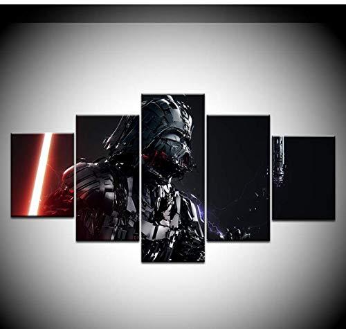 Samorou Plakat Artwork Star Wars Empire Darth Vader Hd Gedruckte 5-Teilige Leinwand-Kunstmalerei Für Wohnzimmerdekor - Style-2 Holzrahmen