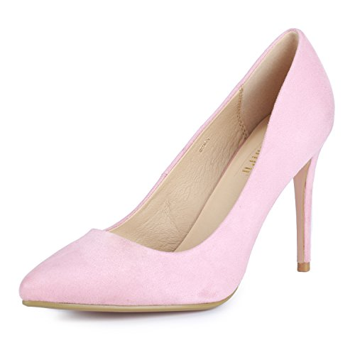IDIFU Women's IN4 Classic Pointed Toe High Heels Pumps Wedding Dress Office Shoes (Pink Suede, 9 B(M) US)