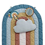 Itzy Ritzy - Ritzy Tummy Time Rainbow Play Mat; Includes Cloud-Shaped Bolster, Mirror Toy & Crinkle Sound Toy; Rainbow