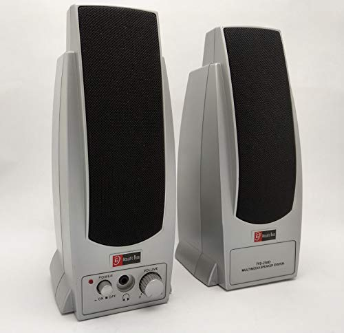 Acoustic Bass Technology TVS-230D Silver Computer Multimedia Stereo Amplified 2.0 Speaker System with Headphone Jack