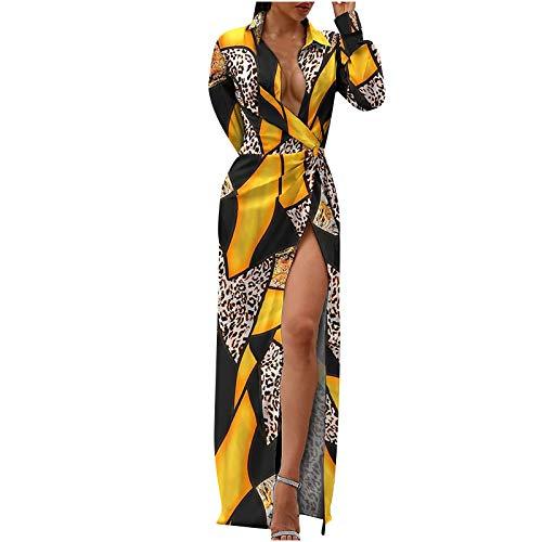 Moda Mujer Irregular Split Camisa de Manga Larga Vestido Suelto Sexy Estampado Vintage Ropa de Mujer en Oferta Vestidos Primavera (Amarillo, XL)