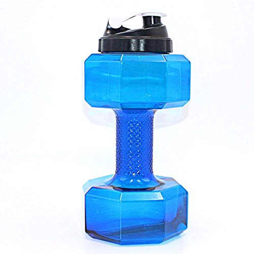 cherrypop Botella de agua con forma de mancuerna de 2,2 ml, gran capacidad, sin BPA, tapa a prueba de fugas, color azul