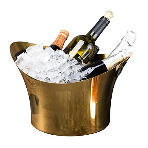 LTLWSH Cubiteras de Acero Inoxidable, Cubo De Hielo Gran Capacidad, Cubo De Vino Aislado Y Fácil De Limpiar, Utilizado para Champán, Cerveza,Oro