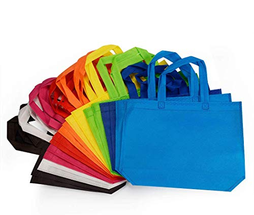 18 Pack Party Gift Tote Bag, 10 x13 Inch Non Woven Gift Tote Bags with Handles for Birthday Favors, Snacks, 9 Colors