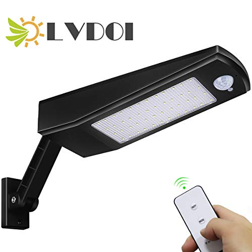 LVDOI Solar Light Outdoor 48 LEDs, afstandsbediening 4 modi 900LM Solar Wireless wandlamp lamp veiligheidsverlichting voor infrarood bewegingssensoren IP65 waterdicht voor tuin, trap, huisdeur, garage