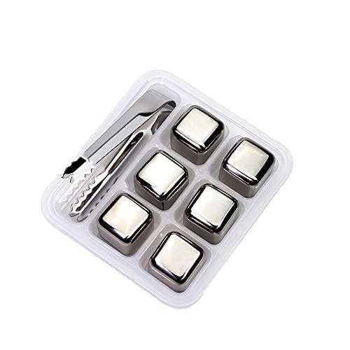 Cubos de hielo de acero inoxidable, piedras reutilizables para el vino de whisky, mantenga su bebida fría por más tiempo, pase de prueba SGS (Color : 6 Pack with Tongs)