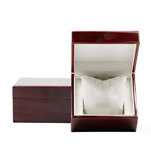 Firoya - Caja de madera para joyas, joyas, joyas, joyas, joyas, joyas, joyas, joyas, joyas, joyas, relojes, joyas, 9.7 x 11 x 6.8 cm, color marrón y rojo