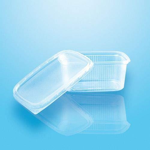 tradingbay24 Verpackungsbecher mit Deckel, PP eckig 200 ml 4,4 cm x 8,9 cm x 11,4 cm transparent tbU95072 Feinkostbecher Salatbecher Dressingbecher transparent, 50 Stück