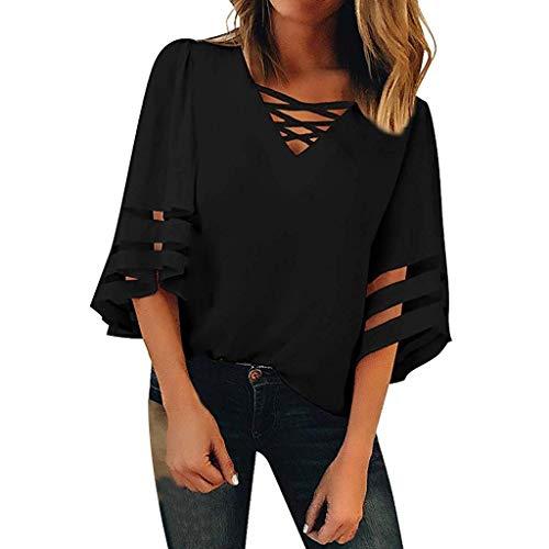 Weant Damen Kurzarm T-Shirt V-Ausschnitt Mesh Locker Oberteile 3/4 Armen Basic Tops Kurzarm Shirts Oberteil Sexy Elegant Sommer Bluse Tops Tunika T-Shirt Baumwollshirt