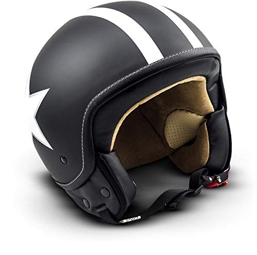 "SOXON® SP-301 Star ""Black"" · Jet-Helm · Motorrad-Helm Roller-Helm Scooter-Helm Moped Mofa-Helm Chopper Retro Vespa Vintage Pilot Biker Helmet Brille · ECE 22.05 Schnellverschluss Tasche M (57-58cm)"