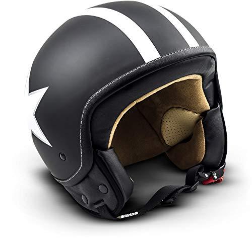 "Soxon® SP-301 Star ""Black"" · Jet-Helm · Motorrad-Helm Roller-Helm Scooter-Helm Bobber Mofa-Helm Chopper Retro Cruiser Vintage Pilot Biker Helmet Brille · ECE Schnellverschluss Tasche M (57-58cm)"