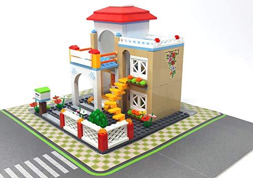 Modbrix Juego de construcción de ciudad, casa Villa, incluye placa base, 380 piezas, juguete de construcción