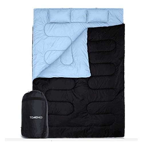 TOMSHOO Saco de Dormir Doble Adulto Acampada, Saco de Dormir Rectangular Convierte en 2 Sacos Individuales, para Camping, Excursiones y Actividades al Aire Libre, 210 * 152cm