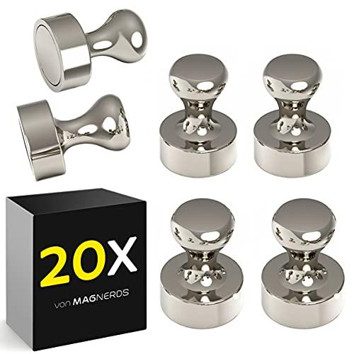 Kühlschrankmagnete in Grau - Neodym Magnet N52 (20 Stück) - Pinnwand Magnete für Magnettafel, Kühlschrank, Whiteboard Magnete ideal für's Büro oder Lehrer Zubehör (W 1,2 cm x H 1,6 cm)