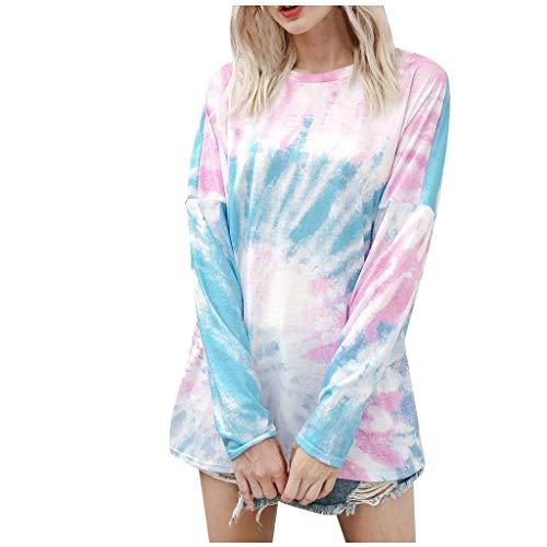 CHMORA - Camiseta de manga larga para mujer, casual, con diseño de arco iris, degradado, para primavera y otoño