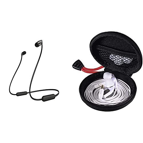 Sony WI-C310 kabelloser Bluetooth In-Ohr Kopfhörer, Schwarz & Hama Kopfhörer Tasche für In Ear Headset (Robustes Hardcase zur In Ears Aufbewahrung) schwarz