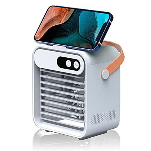 KILOL Ventilador de Enfriamiento de Agua En Aerosol Humidificador, Ventilador de Aire Acondicionado PequeñO USB, PortáTil, DiseñO de Soporte para TeléFono MóVil, Espejo CosméTico Incorporado,Blanco