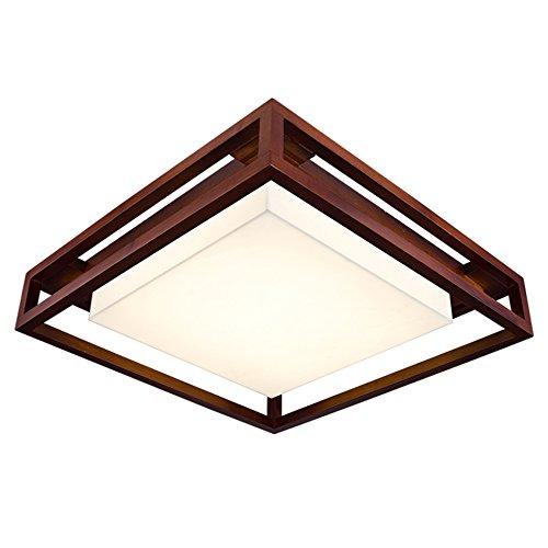 WWW plafondlamp van massief hout Retro plafondlamp woonkamer slaapkamer plafondlamp restaurant Chinees acryl lampenkap LED 53 – 61 × 10 cm plafondlamp