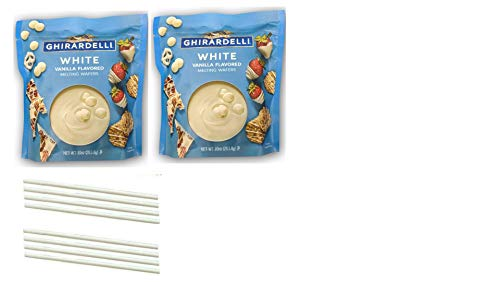 Ghirardelli White Chocolate Wafers. Easy One Stop Shopping for the Best Luxury White Melting Chocolate. Delicious Tempered Chocolate For Fondue or Microwave. Also includes 8 Dipping Sticks.