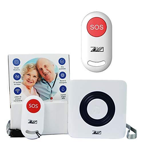 Sistema Cuidador de Idoso ZAWA Emergência + 2 Botões SOS (Flash)