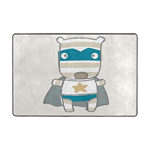DEZIRO Superman - Felpudo de poliéster con diseño de Cachorro de Dibujos Animados, Antideslizante, Lavable, poliéster, 1, 72 x 48 Inch