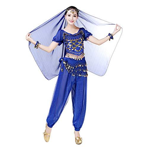 JEELINBORE Damen 5pcs Bauchtanz Kostüme Set Pailletten Quasten Glitzer Fasching Halloween Karneval - 5pcs #Saphir, Freie Größe