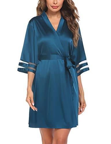 Balancora Kimono Damen Morgenmantel Seide Robe Kurz Bademantel Weiche 3/4 Ärmel Nachtwäsche Damen Loungewear