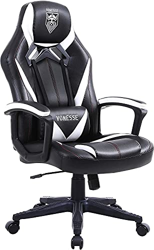 Vonesse Gaming Stuhl für Erwachsene, Ergonomischer Computerstuhl mit Massage, Bürostuhl aus Kohlefaser Leder, Großer Schreibtischstuhl mit Armlehne, Hohe Rückenlehne PC Stuhl für Gamer (Schwarz)
