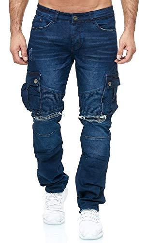 EGOMAXX Jaylvis Herren Biker Cargo Jeans Hose Destroyed Übergröße, Farben:Blau, Größe Jeans:42W