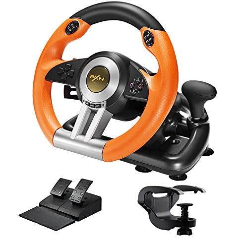 PXN V3II Simulate Racing Game Steering Wheel with Pedal, 180 Degree Steering Wheel, Compatible with Windows PC, PS3, PS4, Xbox One, for Nintendo Switch-Orange