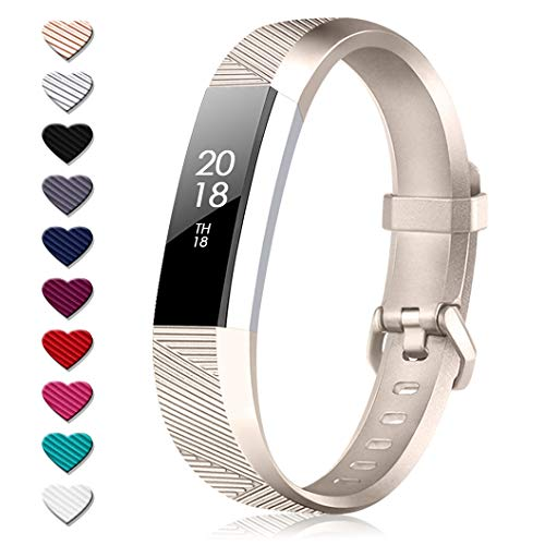 TreasureMax for Fitbit Alta HR Bands and Fitbit Alta Bands, Adjustable Soft Silicone Sports Replacement Accessories Bands for Fitbit Alta HR/Fitbit Alta (Champagne, Small(5.5-6.7 Inch))