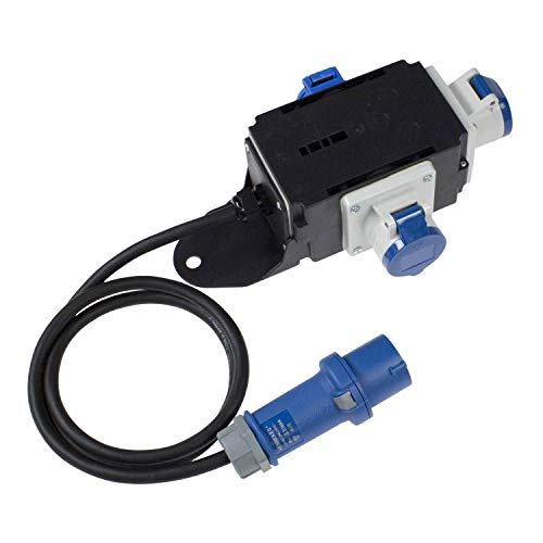 as - Schwabe MIXO Stromverteiler EMS – 230 V / 16 A CEE-Stecker mit 1,5 m Zuleitung auf 2 x CEE-Steckdosen und 1 x Schuko-Steckdose – IP44 Wohnmobil Zubehör – Made in EU – Schwarz I 60496