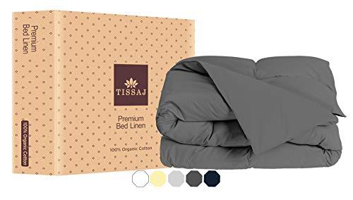 Duvet Cover King Size - Duvet Cover King & California King Size - Smoke Gray - 100% Organic Cotton - GOTS Certified - 300 TC Soft Sateen - For Duvet Insert,Down /Alternative Comforter,Weighted Blanket