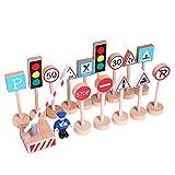 Inscripción 16pcs Mini Señal De Tráfico por Carretera Modelo De Juguete De Madera Juguetes Educativos para Niños