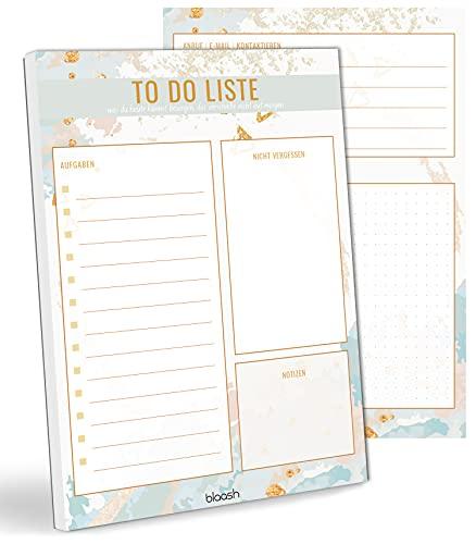 blaash® To Do Block DIN A5 | 50 Seiten Tagesplaner mit Listen für Aufgaben, Notizen und Ideen | Optimale Organisation und Motivation im Alltag | ToDo Liste Block | Notizblock To Do | Light Blue