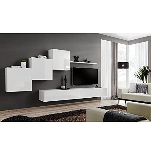 ASM Ensemble TV Mural - Switch - 5 éléments - Blanc